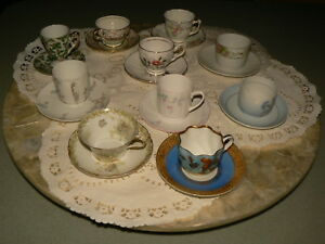 Sale Antique Collection Of 10 Demitasse Cups And Saucers B