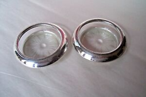 Frank M Whiting 2 Sterling Silver Rimmed Glass Coasters