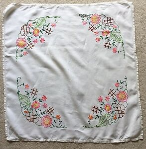 Embroidered Tablecloth Vintage 1950s 1940s Linen Pink Yellow Silk Floral Hand