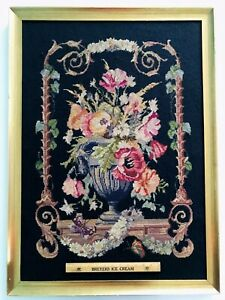 Huge Antique Victorian Needlepoint Tapestry Flowers Vase Butterfly Gold Frame Ny