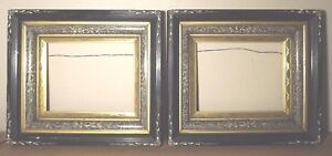Pair Antique Carved Inlay Art Deco Picture Frames Fits 10x8 16x14 Inch Total