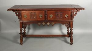 1920 S Signed Karpen Antique Spanish Revival Sideboard With Side Leaf 11659