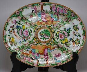 Antique Chinese Export Rose Medallion Tray Late 1800 S 12 X 9 5 Inches