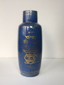 Antique 17th 18th C Chinese Powder Blue And Gold Porcelain Vase Kangxi Mark Qing