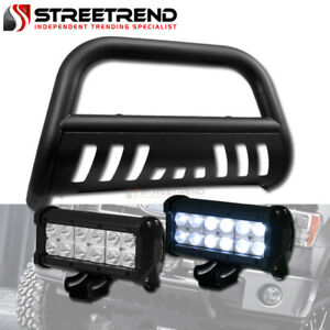 Matte Black Bull Bar Grill Grille Guard 36w Cree Led Fog Light 98 11 Ford Ranger