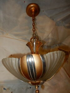 Ca 1930s Streamlined Art Deco 3 Light Slip Shade Chandelier