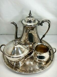 Vintage Silver Plated Coffee Tea Set Pot Sugar Bowl Creamer And Round Tray