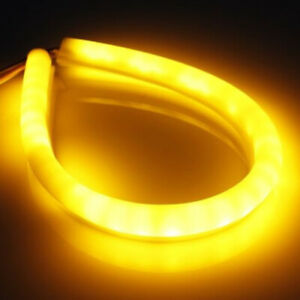 2x 30cm Flexible Tube Headlight Car Led Strip White Drl Amber Turn Signa
