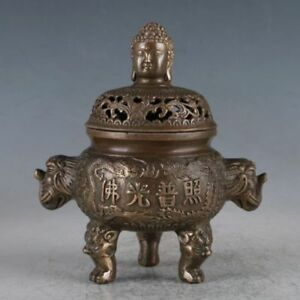 Chinese Old Brass Buddha Incense Burner Made During The Daming Xuande Statue
