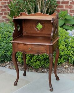 Antique French Country Oak 2 Tier End Table Nightstand Table Drawer Quatrefoils