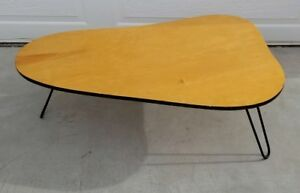 Mid Century 50s Eames Nelson Era 3 Hairpin Leg Kidney Top Coffee Cocktail Table