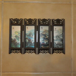 Chinese Mini Glass Screen 4 Folds Table Display Great Wall China