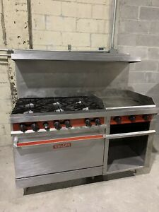Vulcan 6 Burner Range Stove With 24 Griddle Cheese Melter And Oven Nat Gas