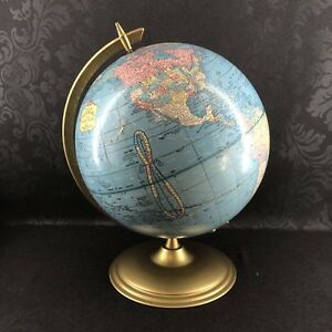Crams Earth Profile 12 Globe Brass Frame Stand Vintage Mcm Terrestrial World