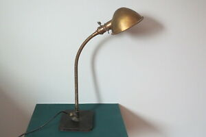 Vintage Antique Industrial Desk Table Gooseneck Lamp Brass