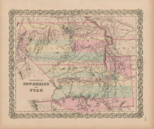 New Mexico Utah Vintage Map Colton 1856 Original Decor History Gift Ideas