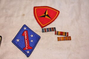 Mixed Lot If Usmc Marnie Badges And Ribbon Pins 1st And 3rd Marine Division
