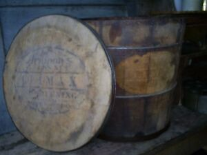 Antique Staved Wood Lidded Lard Bucket Armour Climax Shortening Advertising Sign