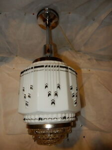 Art Deco Hanging Pendant Ceiling Skyscraper Light Fixture W Wedding Cake Shade