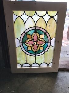 Sg 2832 Antique Center Flower Stained Glass Window 20 25 X 27 25
