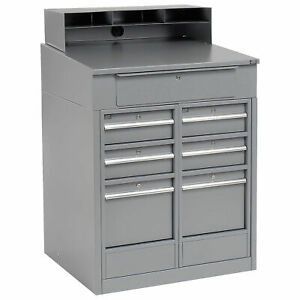 Shop Desk With 7 Drawers 34 1 2 w X 30 d X 51 1 2 h Gray Lot Of 1