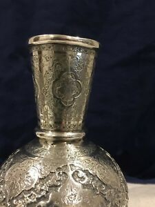 Magnificently Crafted Antique Islamic Qajar Persian Solid Silver Vase Signed