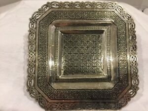 Magnificent Antique Islamic Middleeastern Qajar Persian Solid Silver Niello Tray