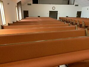 28 Solid Oak Wood Church Pews With Pads 15ft 2 Long Each Obo