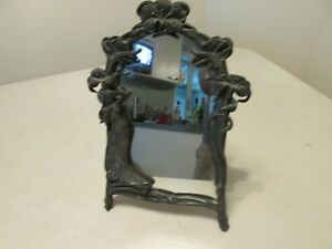 Beautiful Vintage Antique Art Deco Lady Woman 3d Table Top Vanity Metal Mirror