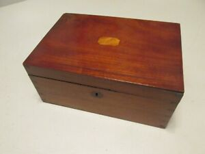Beautiful Antique Mahogany Cherry Inlay Hand Dovetail Skeleton Key Lock Wood Box
