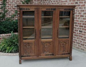 Antique French Carved Oak Neo Gothic 3 Door Bookcase Display Cabinet Monks