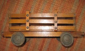 Primitive Victorian Toy Wooden Farm Wagon To Go With Old Horse On Wheels 12