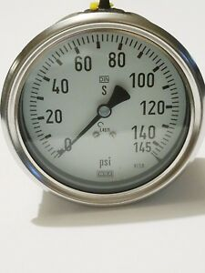 Wiki Industrial Pressure Gauge 145 Psi Stainless 4 Face Din Safety Lbm