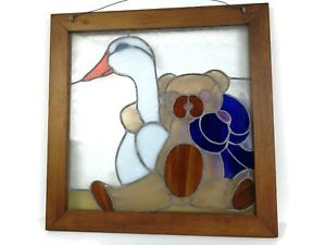 Vintage Stained Glass Window Panel With Tedy Bear And White Duck