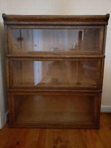 Globe Wernicke Antique Barrister Bookcase Display Case Lawyer 3 Tier Shelf Oak