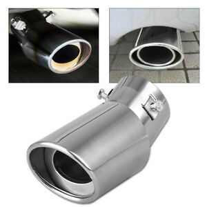 1 5 2 1 Stainless Steel Car Rear Dual Curved Exhaust Pipe Tail Muffler Tip New