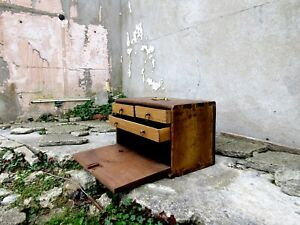 Antique Wooden Rustic Tool Chest Cabinet With Sliding Drawers Brass Handle