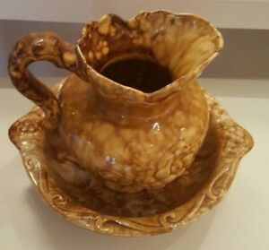 Extra Large Mustard Gold Pitcher And Basin Raised Fruit Design 9 Inches Tall