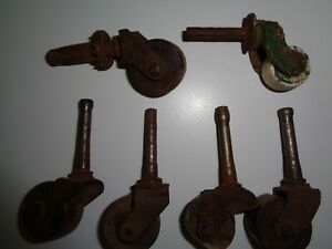 Antique Furniture Wood Rollers Casters Wheels