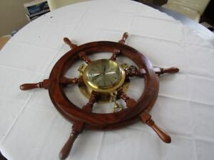 Vintage 27 Ships Wooden Wheel With Heavy Brass Porthole Clock Unused Exc