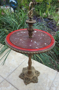 Antique 1920 S Art Deco Gold Cast Iron Red Marble Top Stand Table