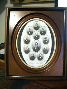 1860 S Antique Engraving Abraham Lincoln Cabinet In Antique Oval Frame
