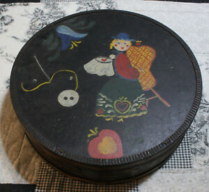 Vtg Antique Folk Art Wood Cheese Box Sewing Box Lining Country Primitive