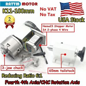 us rotation A Axis Cnc Router Rotary Table 4th Axis 100mm 3 Jaw Chuck tailstock