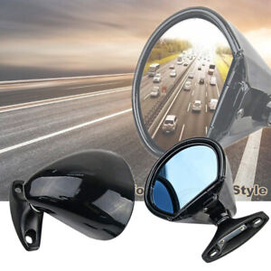 2x Vintage Oldtimer Classic Car Door Side Mirror Blue Glass Anti glare Universal