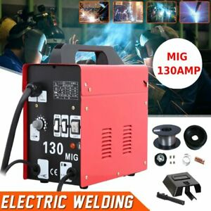 Mig 130 Welder Gas Less Flux Core Wire Automatic Feed Welding Machine Red Be