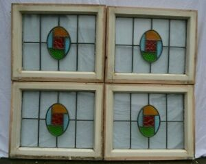 4 British Art Deco Leaded Light Stained Glass Window Panels R892b