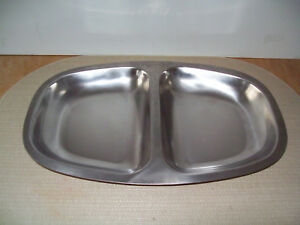 Vintage Danish Modern Stainless Steel Divided Serving Tray Organizer Guc