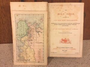 Antique 1873 Holy Bible With Brass Corners And Hinges Colored Maps Yoitsu Honda