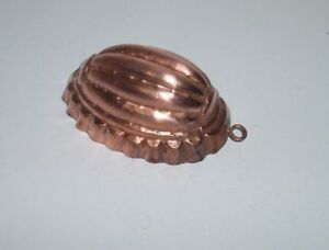 Antique French Copper Oval Cake Mold 1900 Hammered